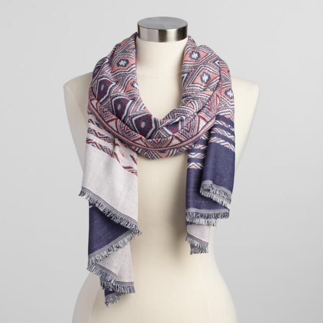 Red and Blue Geometric Jacquard Scarf