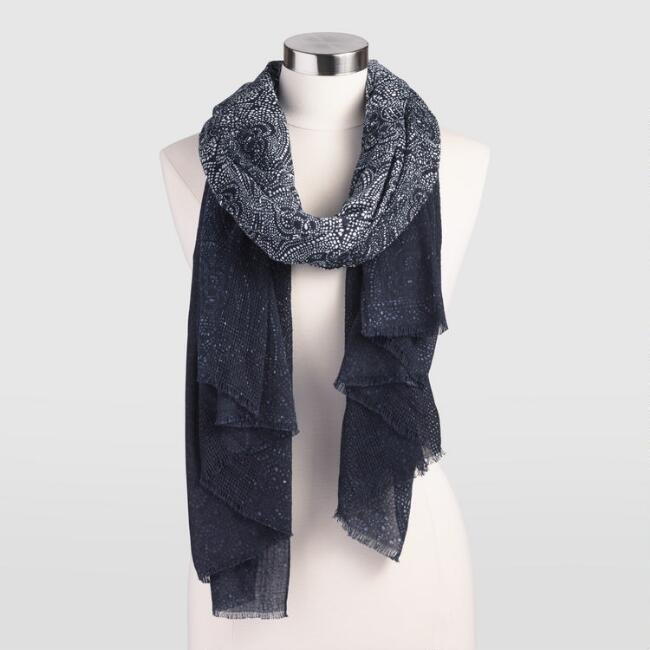 Navy and White Batik Scarf