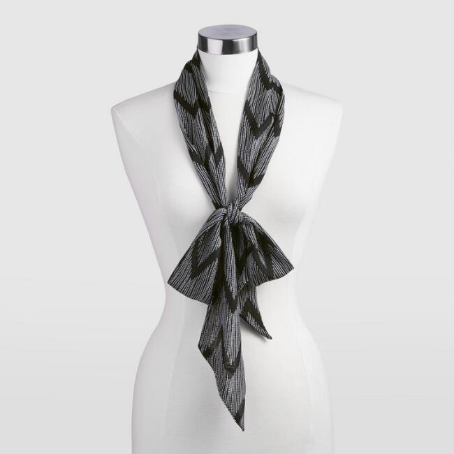 Skinny Black and White Chevron Scarf