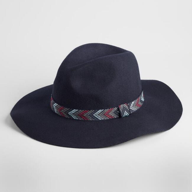Navy Wool Rancher Hat with Chevron Band
