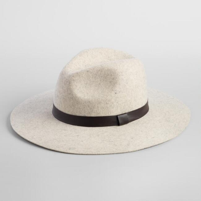 Light Gray Wool Rancher Hat with Black Band