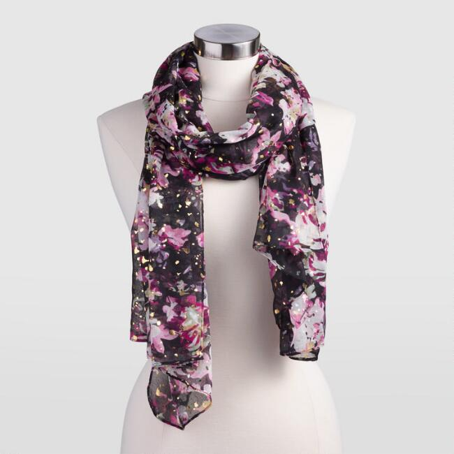 Purple and Gold Floral Scarf