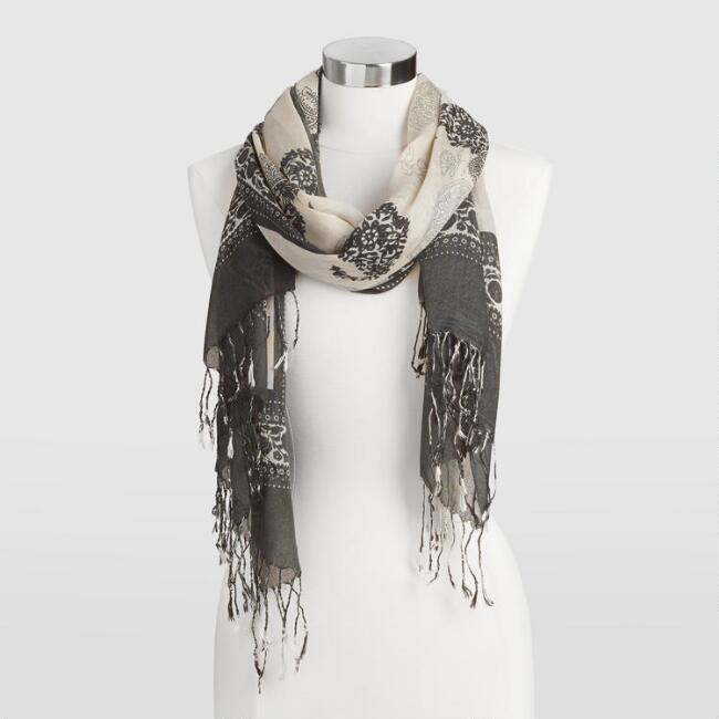 Gray  Paisley Scarf with Black Border