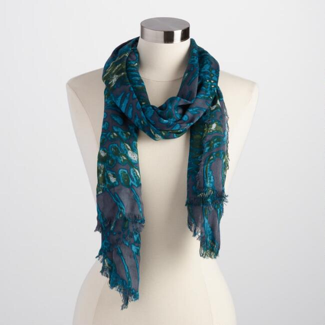 Brown and Teal Watercolor Scarf