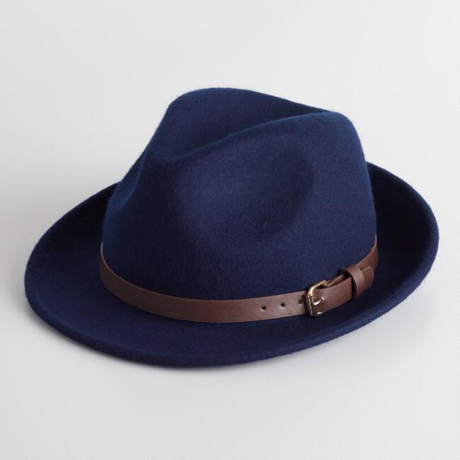 Navy Wool Fedora with Buckle