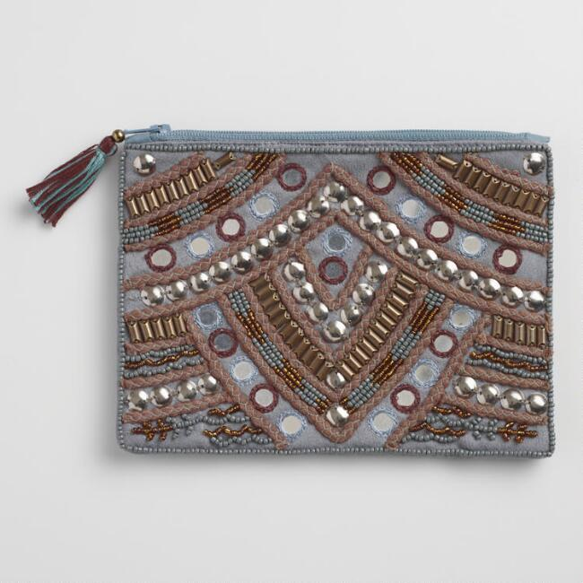 Large Gray and Bronze Hand Beaded Pouch
