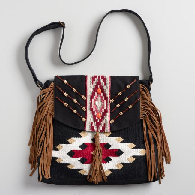 Black and Red Bag with Suede Fringe
