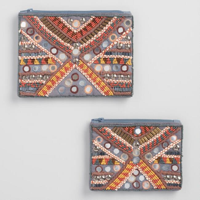 Gray and Orange Hand Beaded Pouch
