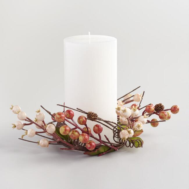 Ivory Autumn Berry Candle Ring