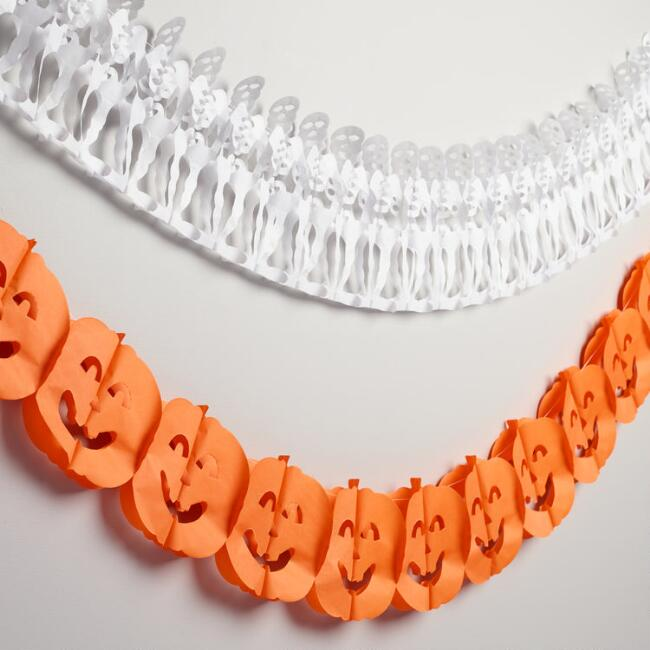 Skeleton and Pumpkin Paper Halloween Garland Set of 2