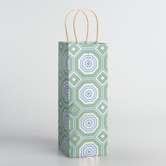 Geometric Blue Kraft Wine Bags Set of 2