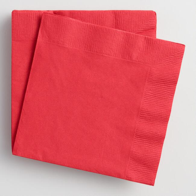 Red Beverage Napkins Set of 2