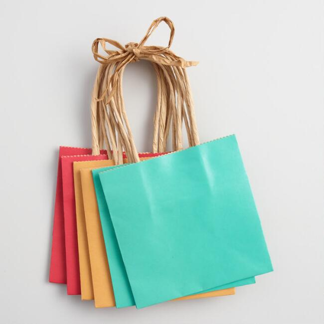Mini Green and Red Kraft Gift Bags Set of 12