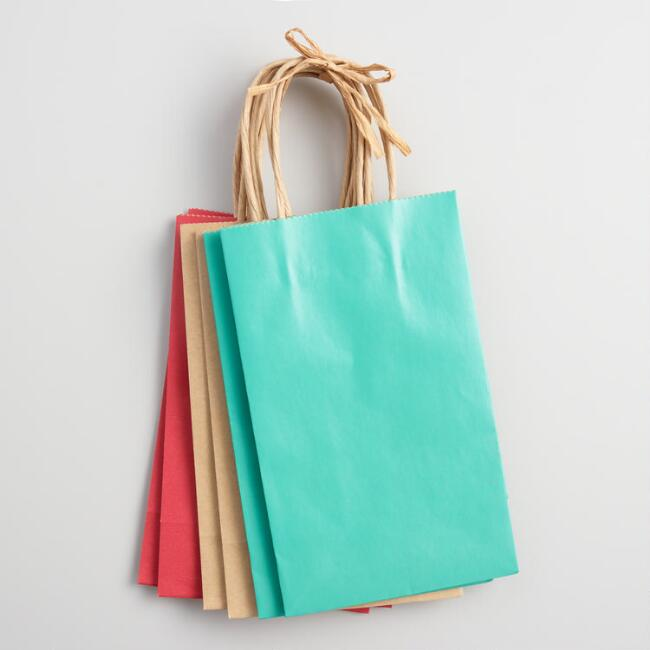 Small Purple and Blue Kraft Gift Bags Set of 6