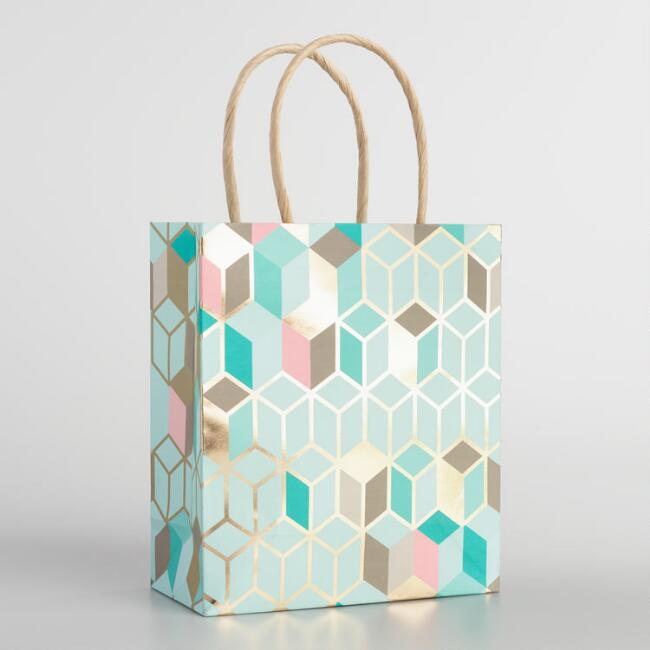 Geo Gold Foil Kraft Gift Bags Small Set of 2