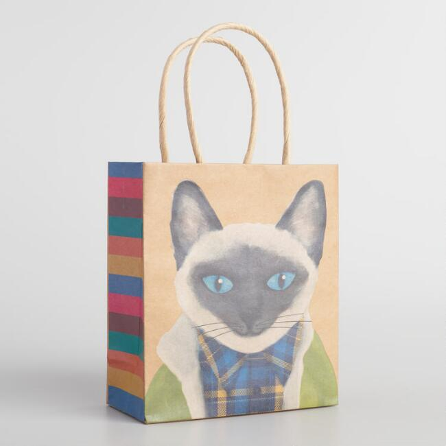 Small Boy Cat with Hoodie Kraft Gift Bags Set of 2