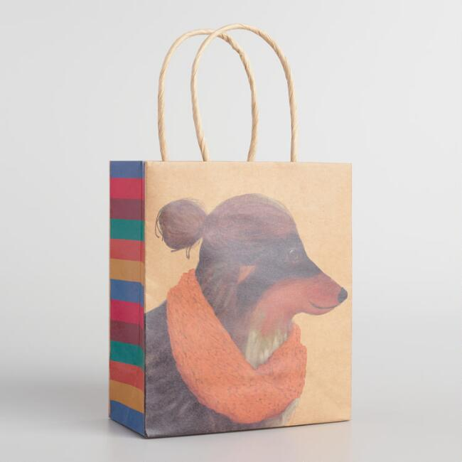 Small Man Bun Dog Kraft Gift Bags Set of 2