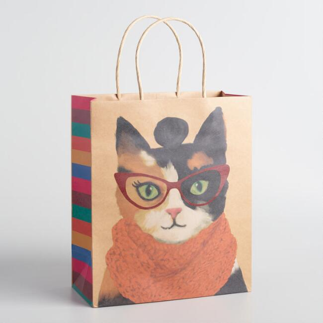 Large Calico Cat with Bun Kraft Gift Bags Set of 2