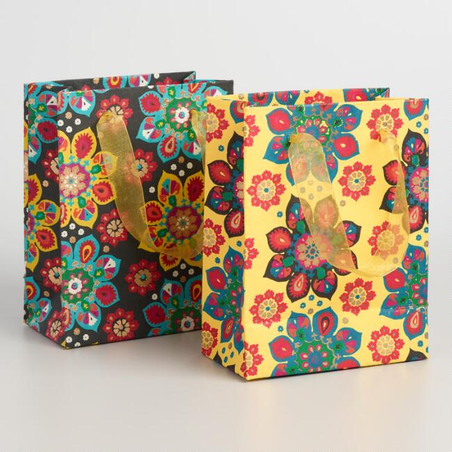 Small Black and Yellow Suzani Flower Gift Bags Set of 2