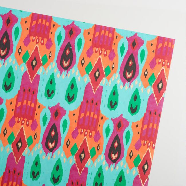 Ikat Handmade Wrapping Paper Rolls Set of 2
