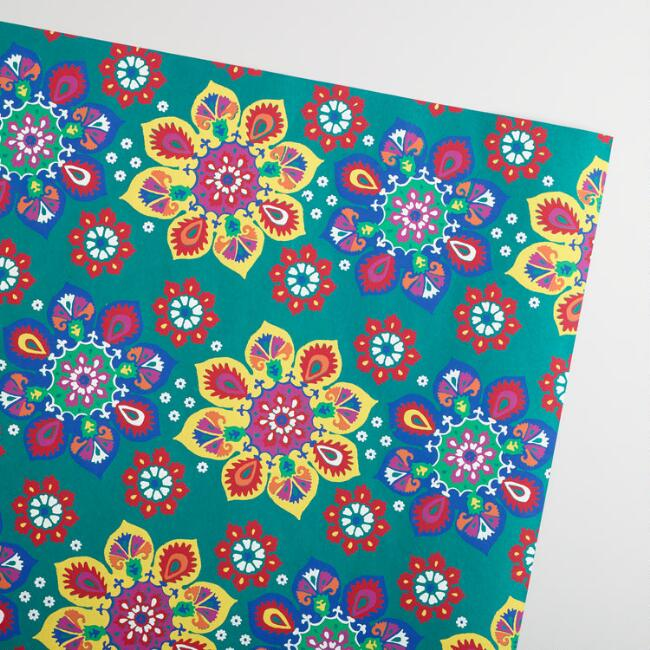 Turquoise Suzani Handmade Wrapping Paper Rolls Set of 2