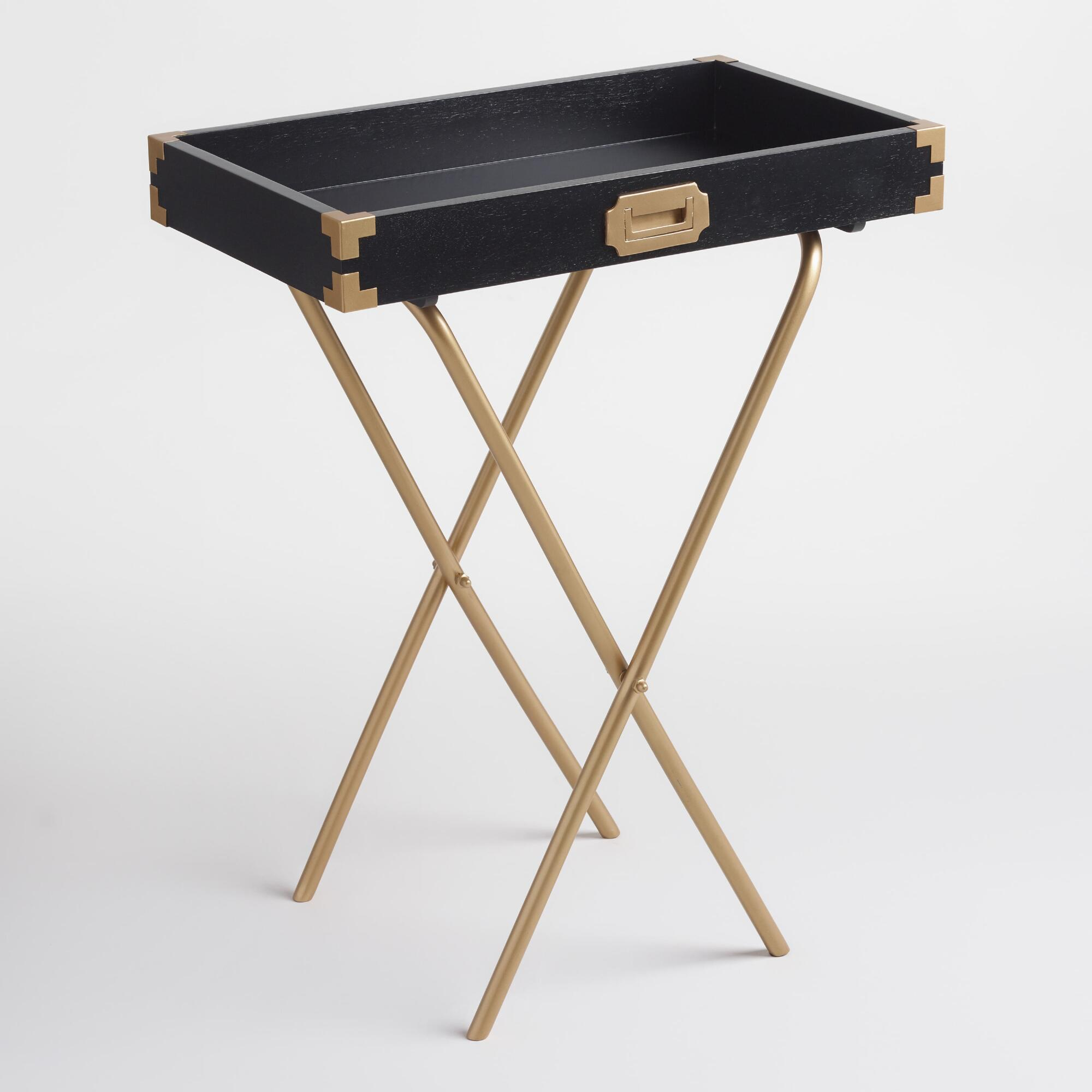 Black And Gold Butler Tray Wood By World