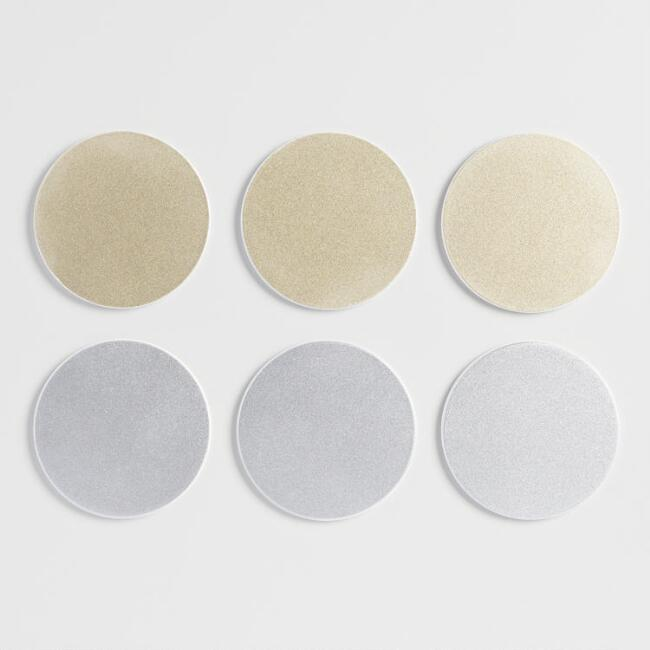 Gold and Silver Lacquer Coaster Set of 12