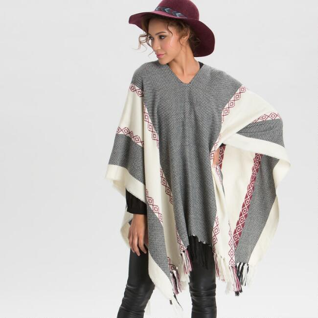 Ivory Black and Burgundy Poncho