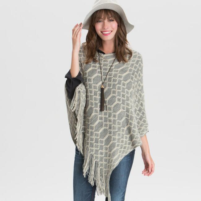 Gray and Ivory Poncho