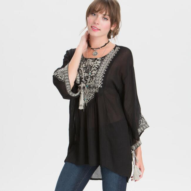 Black and Gray Embroidered Jade Top