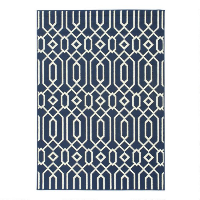 Navy Blue Cortes Indoor Outdoor Area Rug | World Market