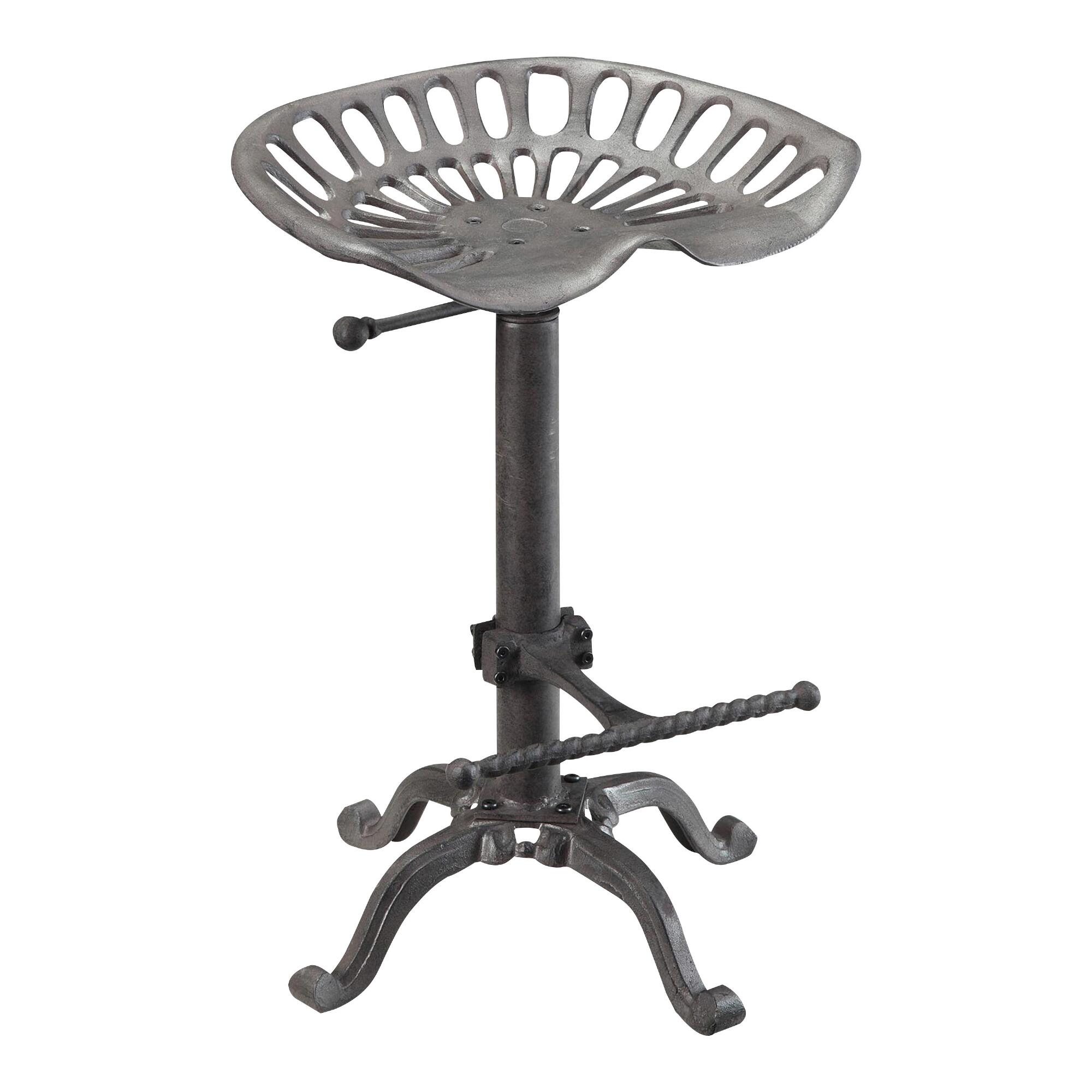 Cast Iron and Metal Mabry Adjustable Tractor Seat Stool by World Market