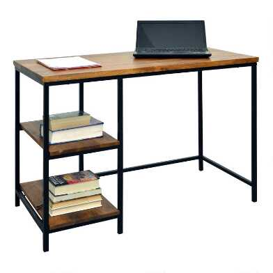 Chestnut Wood and Black Metal Williard Desk with Shelves