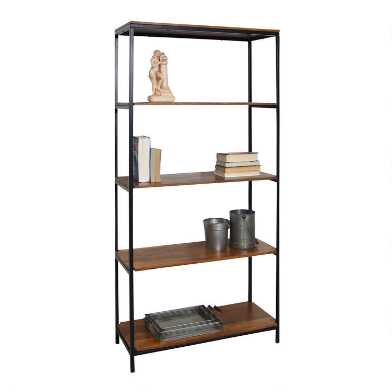 Chestnut Wood and Black Metal Williard Bookshelf