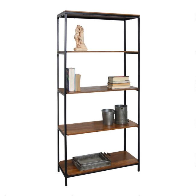Wood And Metal Williard Tall Bookshelf