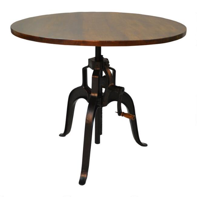 Wood and Metal Carlyle Adjustable Height Dining Table
