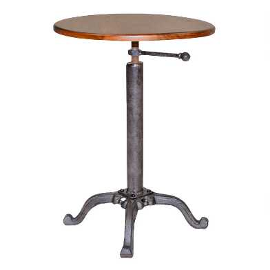Wood And Metal Adjustable Uriah Accent Table