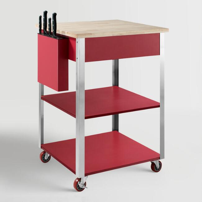 Red Daelyn Kitchen Cart with Butcher Block