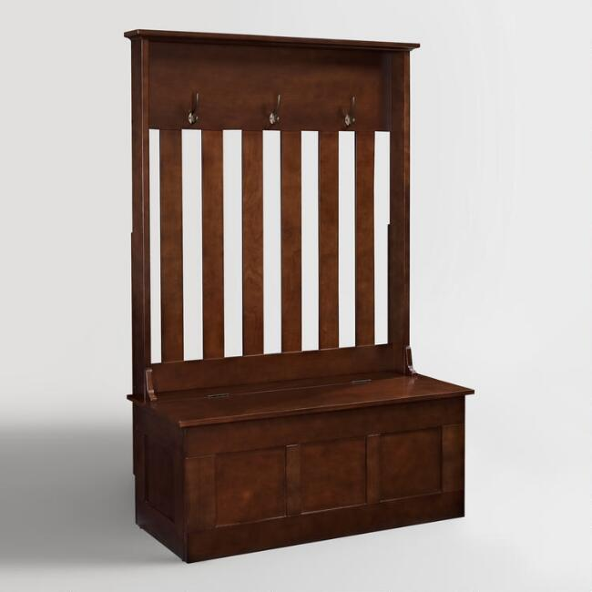 Mahogany Wood Wentworth Entryway Storage Bench