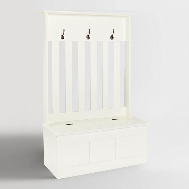 White Wood Wentworth Entryway Storage Bench