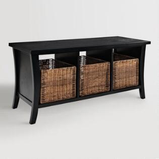 black wood cassia entryway storage bench with baskets - Entryway Bench