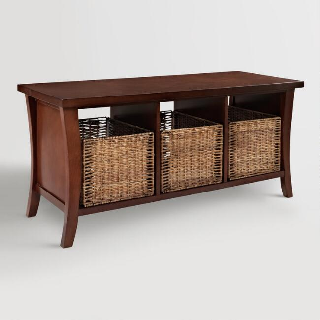 Welcome Your Guests With An Impeccably Organized Entryway: Mahogany Wood Cassia Entryway Storage Bench With Baskets