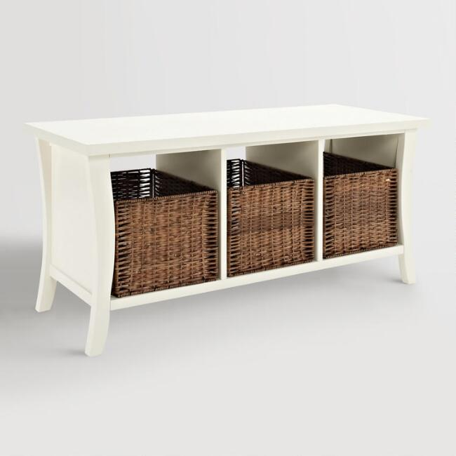 White Wood Cassia Entryway Storage Bench with Baskets