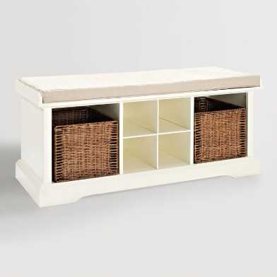 White Wood Emlyn Entryway Storage Bench