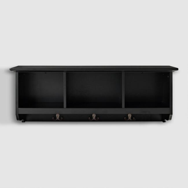 Black Wood Emlyn Entryway Wall Storage