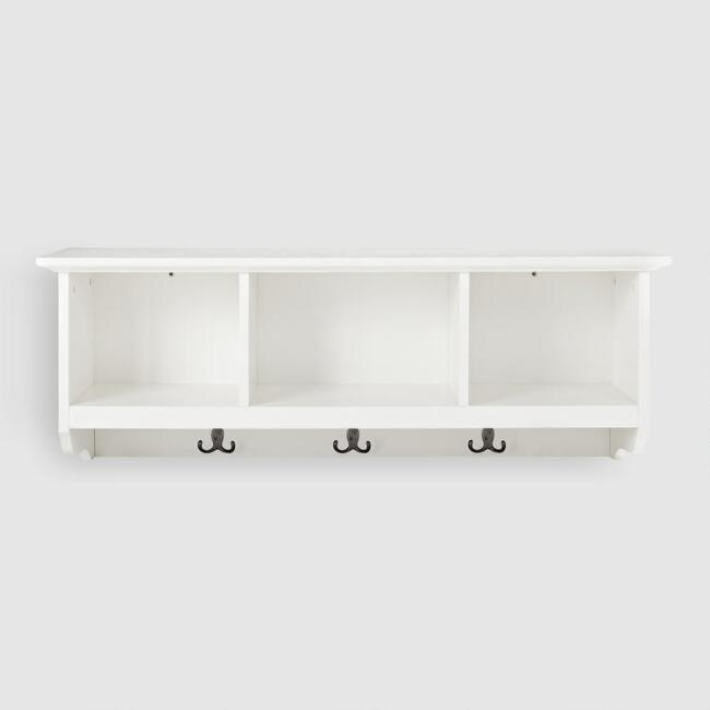 White Wood Emlyn Entryway Wall Storage