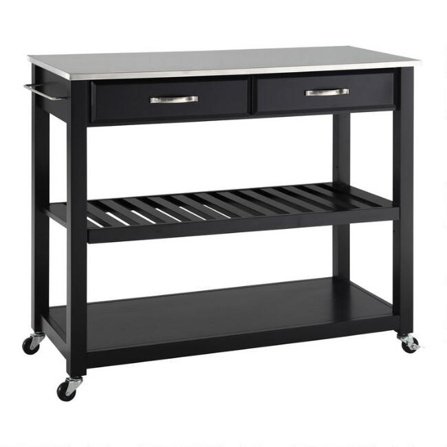Black Sondra Kitchen Cart with Stainless Steel Top