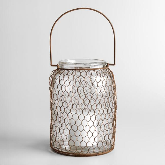 Rust Wire and  Glass Tabletop Lantern