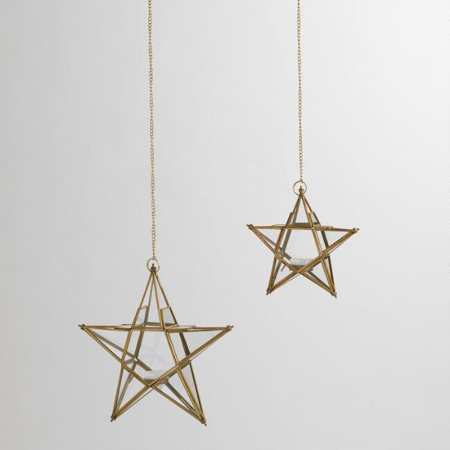 Clear Glass and Metal Star Hanging Lanterns
