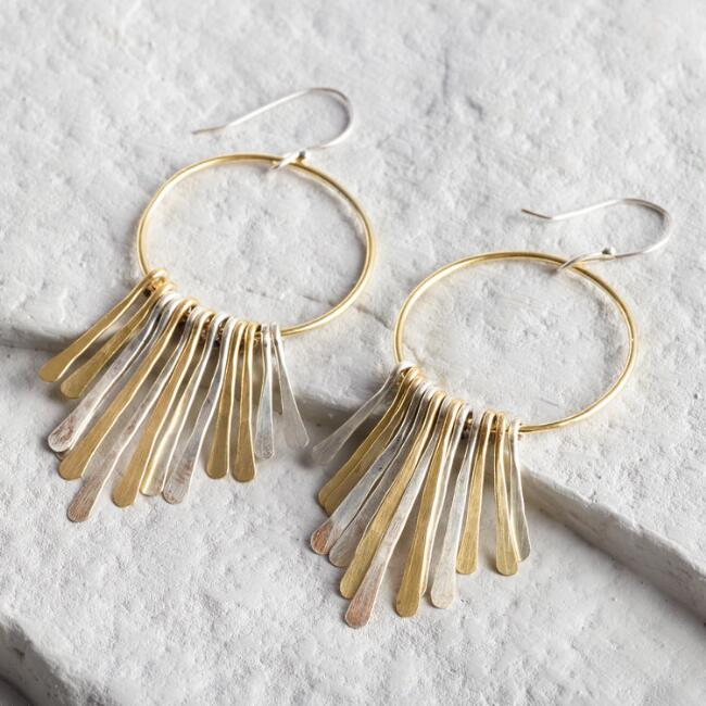 Gold and Silver Spoke Hoop Earrings